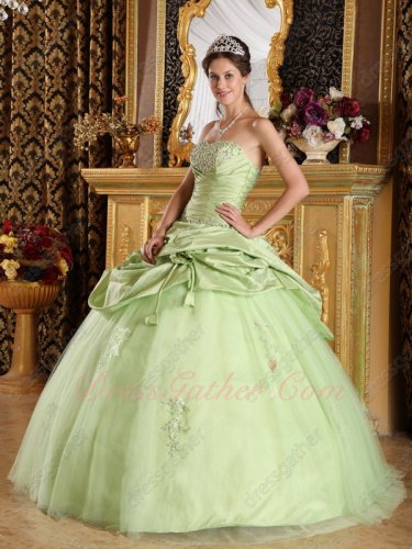 Pale Dust Yellow Green Half Bubble Half Layers Mesh Flat Puffy Quinceanera Gown Pub