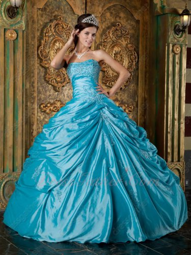 Sweetheart Deep Sky Blue Applique Fluffy Taffeta Quinceanera Gowns University
