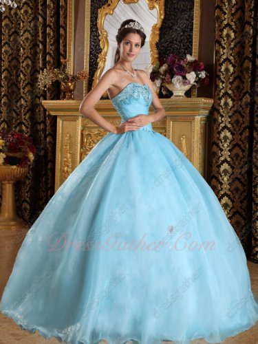 Princess Ice Blue Puffy Plain Quinceanera Ball Gown Music Festival