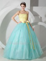 Mint Green Smooth Organza Skirt/Yellow Ruching Bodice Quince Ball Gown Under 140