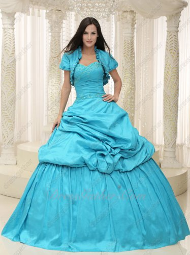 Guaranteed Aqua Bluging Taffeta Sweet 16 Quinceanera Ball Gown With Jacket