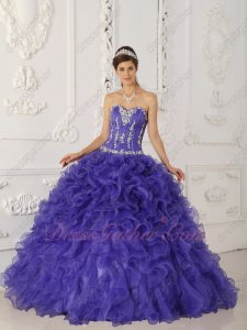 Violet Blue Purple Ruffles Skirt Quinceanera Court Gown Hot Sell Styles