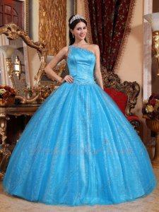 Single Shoulder Dodger Blue Tulle Military Quinceanera Dress With Sparkling Tulle