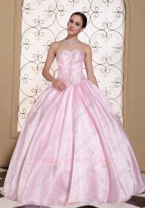 Nymphean Baby Pink Smooth Fluffy Organza Floor Length Ball Gown Low Price