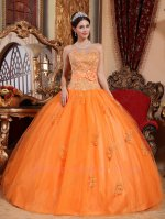 Discount Orange Satin and Tulle Dropped Waistline Prom Quinceanera Party Dress