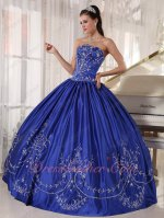Western Natural Waist Silver Embroidery Quinceanera Dress Royal Blue Strapless