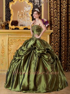 Olive Green Taffeta Strapless Bubble Prom Quinceanera Dress Low Price High Quality