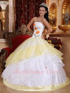 Princess White/Daffodil Quinceanera Celebrity Stage Ball Gown With Embroidery