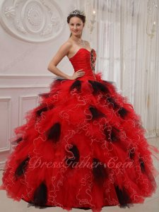 Half Beadwork Half Ruching Bodice Quinceanera Dress Red Rufffles Mingle With Black