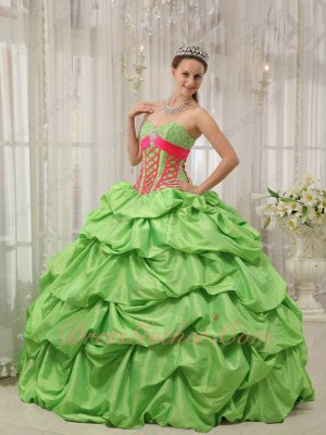 Spring Green Taffeta Quince Gown Clearance With Hot Pink Shoelaces Corset Design