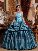 Pretty Quinceanera Dress Light Sky Blue Taffeta and Black Tulle Bubble Bluging Together