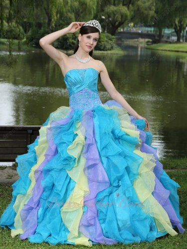 Cyclic Serried Ruffles Mixed Daffodil/Aqua/Liac Quinceanera Ball Gown Colorful 2019