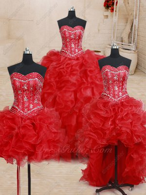 Red Quinceanera Dress Detachable Short Skirt/High Low/Ball Gown Silver Embroidery