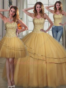 Detachable Four Pieces Several Kinds Wear Gold Tulle Quinceanera Ball Gowns to Dance