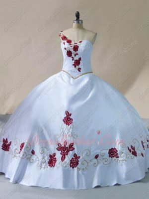 Right One Strap Plain Western Quinceanera Gowns White Satin With Wine Red Embroidery
