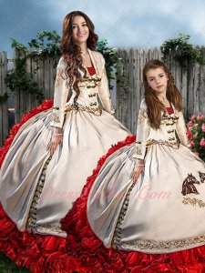 Western Embroidery Ivory Red Ruffles Quince Ball Gown Adult and Flower Girl Together