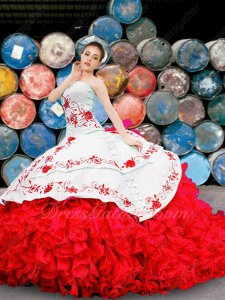 Western Swing Quinceanera Gown Embroideried White Blouse and Layers Overlay Red Ruffles