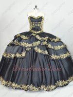 Cross Layers Skirt With Gold Embroidery Edge Western Black Quiceanera Dress Coupon