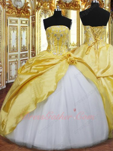 Golden Yellow Taffeta Open With White Tulle Gown For Young Girl Quinceanera Event Wear