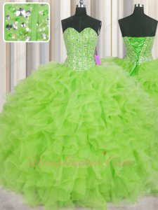 Strips Full Silver Beadwork Spring Green 15 Birthday Party Ball Gown Organza Ruffles