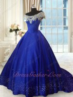 Off Shoulder Scoop Royal Blue Little Train Evening Ball Gown Silver Beadwork Hemline