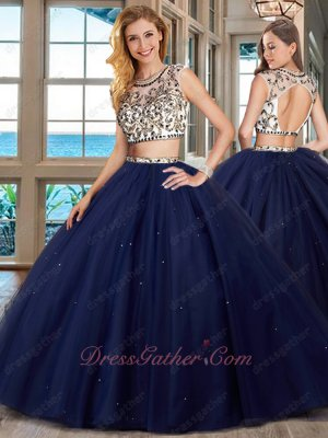 Two Pieces Separated Navy Blue Military Quinceanera Ball Gown Designer Recommend