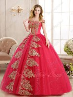 Coral Red Tulle Lady Prom Ball Gown Vogue Golden Pineapple Appliques Runway Pageant