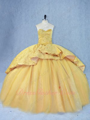 Graceful Flat Sparkle Tulle Ball Gown Appliqued Overlay Chapel Train Gold Quince Gowns