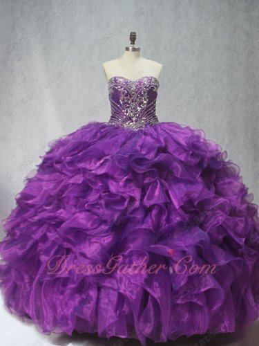Beadwork Blouse Thick Organza Waterfalls Little Train Regency Quinceanera Gown Vogue