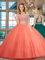 Two Pieces Detached Latin Style Watermelon Tulle Fashionable Quince Prom Ball Gown