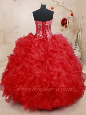 Four Pieces Separated Bodice/High Low/Knee Length/Red Quince Ball Gown Detachable