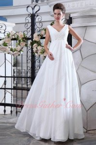 Clearance V-neck White Chiffon Formal Prom Dresses/Simple Wedding Dress