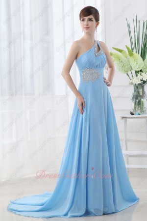 Graceful Single Shoulder Nattier Blue Chiffon Sweep Train Compere Prom Dress
