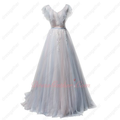 Flouncing Neckline Pleated Tulle Baby Blue and Baby Pink Girlish Prom Dress