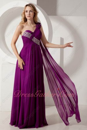 Rose Flowers Strap Mauve Purple Formal Evening Dress Shoulder Flowing Ribbon Train