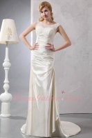 2019 New Scoop Lace Collor Beige Glossy Smooth Fabric Evening Gowns Petite