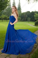 Elegant Royal Blue Chiffon Left Thigh Opening Sweep Train Formal Prom Dresses