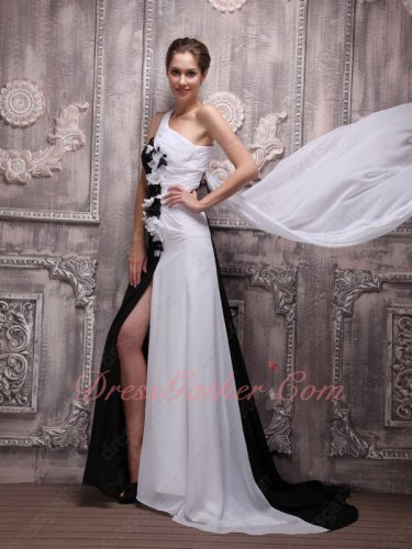 Contrast Joint White and Black One Shoulder Night Party Dress Flowing Train