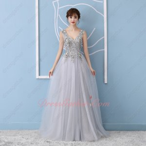 Noble V Neck Waist Shaped Silver Tulle Celebrity Evening Prom Formal Gowns 3D Applique