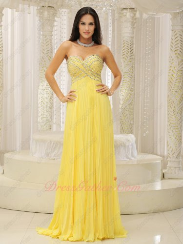 Bright Yellow Chiffon Fully Silver Beading Blouse Pleated Evening Pub Dress Long