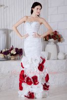 One-step Mermaid Ruching Taffeta Prom Dress With White and Red Rolled 3D Flowers