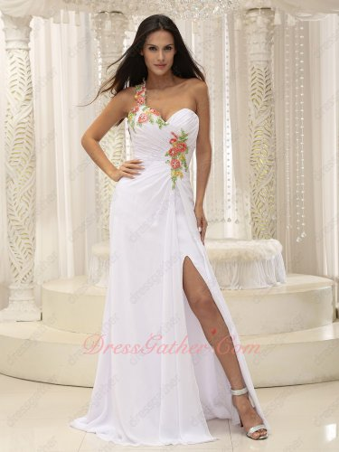 Single Strap Colorful Applique Decorate White Lady Formal Prom Dress Left Thigh Slit