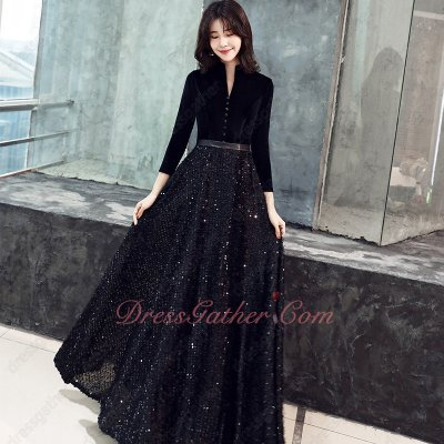 Mature V-Shaped Cut Out Black Velvet Sparkle Sequin A-line Evening Gowns Long Sleeves