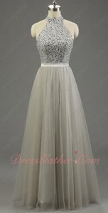 High Collar Twinset Shiny Silver Beading Bodice Multilayered Tulle Grande Toilette