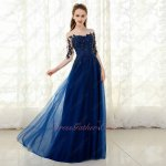 Pellucid Nude Scoop Neck Half Sleeve Navy Appliques Celebrity Dress Hot Sale