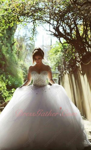 Noble Crystals Bodice Outdoor Wedding Ball Gown With Nude Fabric Neck & Sleeves