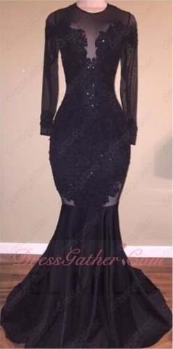 High Collar Appliques Black Sexy Mearmaid Sweep Train Evening Dress Backless