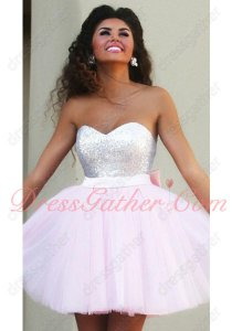 New Look Sweetheart Neck Baby Pink Puffy Tulle Girl Mini Homecoming Dress