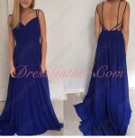 Spaghetti Straps Lightsome Royal Blue Chiffon Long Vacation Dress Sexy back