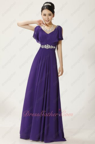 Old Fashion V-Neck Falbala Eggplant Purple Chiffon Female Prom Dress Under 90